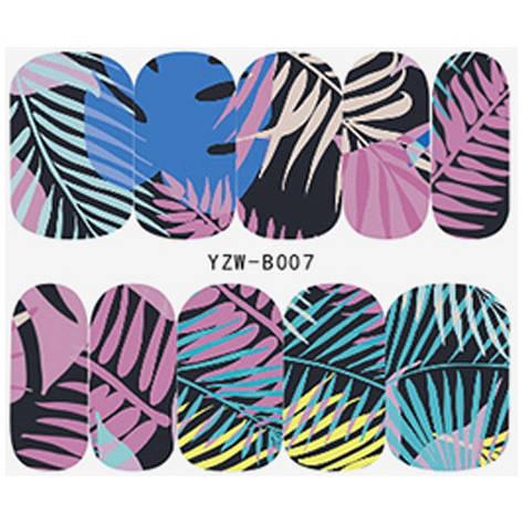 KATTi Наклейки водные YZW B 007 цветные пальмы ноготок, фото 2