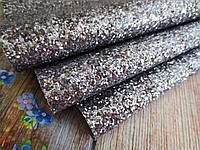 Экокожа (кожзам) с крупными блестками на тканевой основе, ГРАФИТ, 20х30 см, фото 1