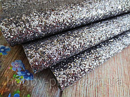Екокожа (кожзам) з великими блискітками на тканинній основі, ГРАФІТ, 20х30 см