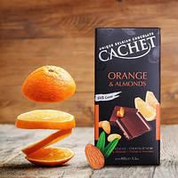 """Шоколад черный Cachet """"Апельсин и миндаль"""" 100 гр."""