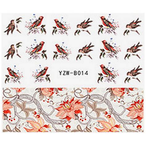KATTi Наклейки водные YZW B 014 цветные птички, фото 2