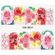 KATTi Наклейки водные YZW B 027 цветные цветы ноготок