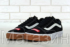 Мужские кеды Supreme x Vans Old Skool Black/White/Gum Bump Ванс Олд Скул Суприм черные, фото 2