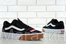 Мужские кеды Supreme x Vans Old Skool Black/White/Gum Bump Ванс Олд Скул Суприм черные, фото 3