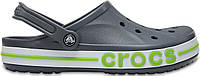 "Мужские кроксы Crocs ""Charcoal/Volt Green"" серые"