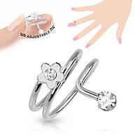 Женское кольцо на фалангу «Цветок»