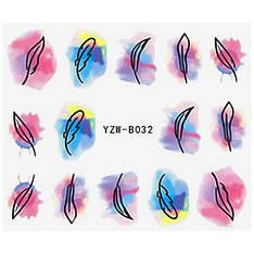KATTi Наклейки водные YZW B 032 цветные акварель перья