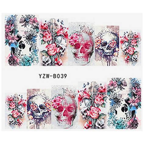 KATTi Наклейки водные YZW B 039 цветные цветы череп, фото 2