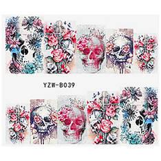 KATTi Наклейки водные YZW B 039 цветные цветы череп