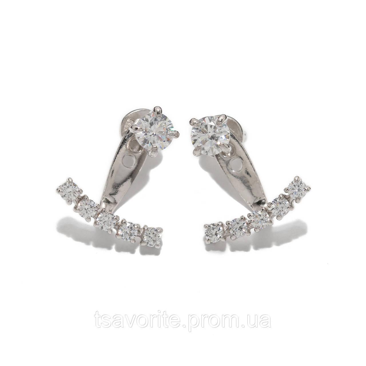 Серебряные серьги джекеты 500156\3-СПР