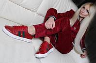 Кожаные женские кроссовки в стиле гуччи