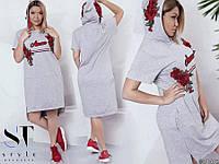 Асимметричное платье с аппликацией розы  батал