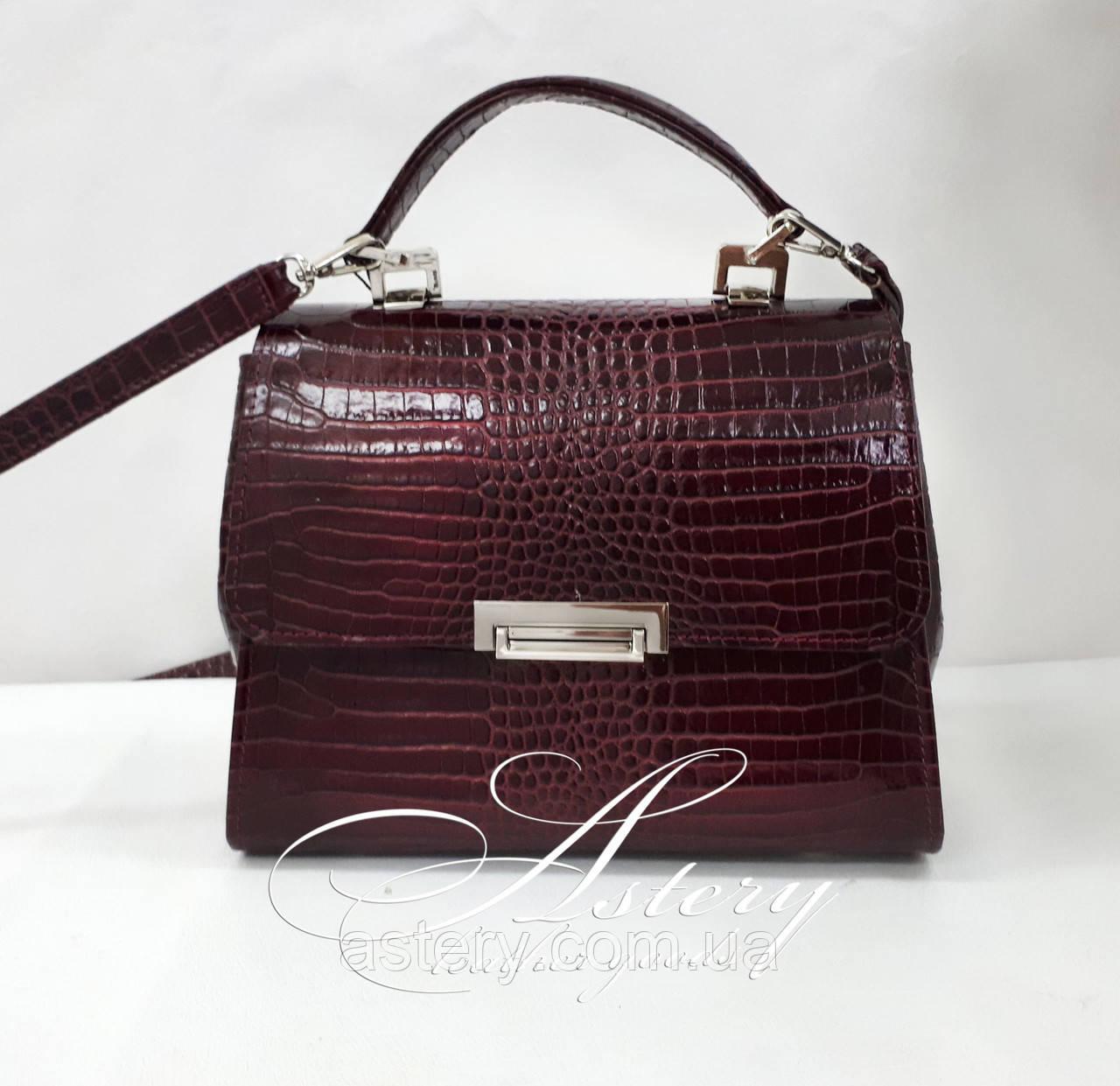 """Жіноча бордова сумка LAURA зі шкіри з тисненням """"крокодил"""""""