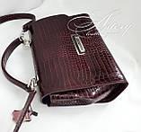 """Жіноча бордова сумка LAURA зі шкіри з тисненням """"крокодил"""", фото 3"""