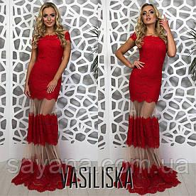 Женское вечернее платье со вставками, в расцветках. ВВ-2-0618