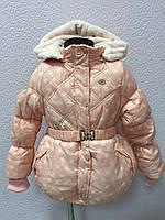 Куртка детская зима для девочки розовая в белый горошек 1109