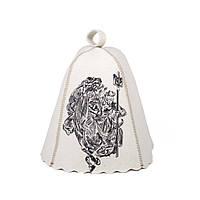 Шапка для сауны с вышивкой Патриот, натуральный войлок,  Saunapro