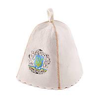 Шапка для сауны с вышивкой Герб Украины, натуральный войлок, Saunapro