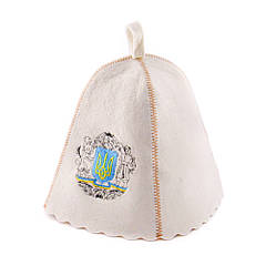 Шапка для сауни з вишивкою Герб України, натуральний войлок, Saunapro