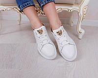 Белые кожаные женские кроссовки в стиле Филип Плеин РР