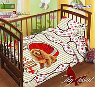 Детское постельное белье в кроватку для девочек с собачкой с простыней на резинке