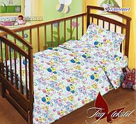 Детское постельное белье в кроватку с котятами с простыней на резинке