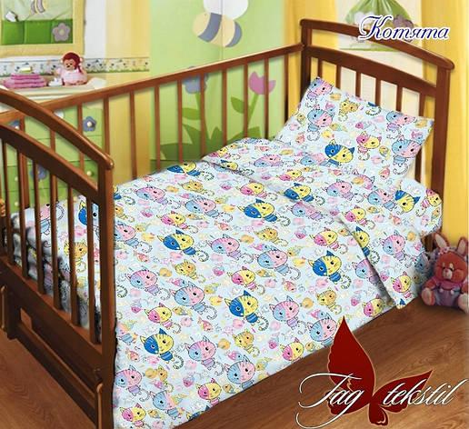 Детское постельное белье в кроватку с котятами с простыней на резинке, фото 2