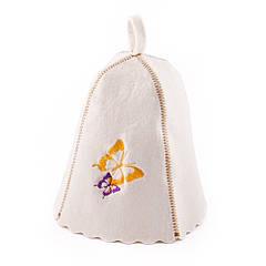 Шапка для сауни з вишивкою 'Метелики', Saunapro