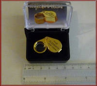 Лупа ручная 10Х 12мм ювелирная золотистая MG21172-1, фото 1