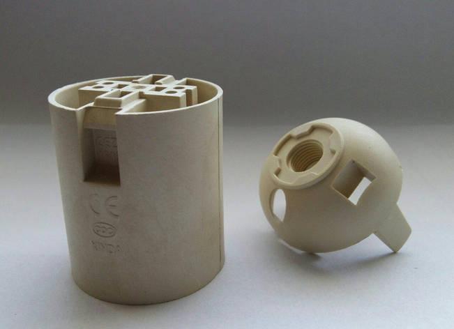 Патрон E27 пластиковый внутренний для люстр и светильников белый, фото 2