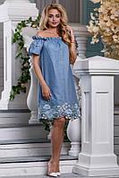 Хлопковое платье с вышивкой на подоле Д-1333