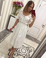 Платье хлопковое из прошвы длиной миди с разрезами на плечах 33031595 420, фото 1