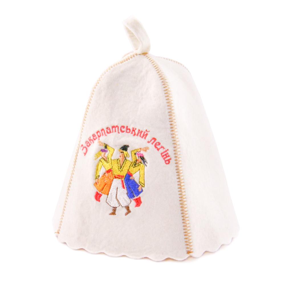 Шапка для сауны с вышивкой 'Закарпатський легінь', Saunapro