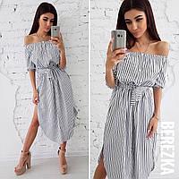 Платье-рубашка с открытыми плечами и поясом 66031604 350