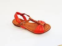 Женские кожаные босоножки сандалии без каблука коралловые Pandora 25