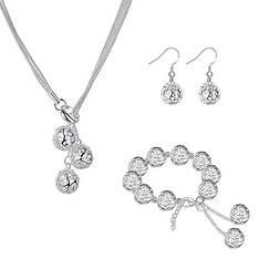 Жіночий комплект біжутерії (кольє, сережки, браслет) срібні кулі з серцями покриття срібло 925