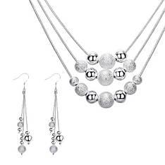 Жіночий комплект біжутерії (кольє, сережки) Срібні кулі покриття срібло 925