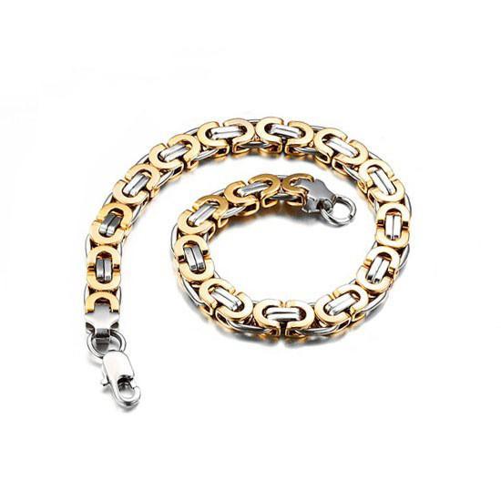 """Чоловічий браслет з медичного сплаву з золотими ланками """"Steel Rage New"""" візантійське плетіння"""