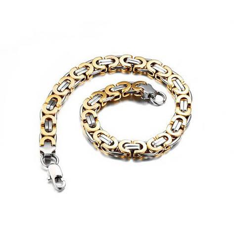 """Чоловічий браслет з медичного сплаву з золотими ланками """"Steel Rage New"""" візантійське плетіння, фото 2"""
