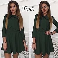 3e7fdf7bde92b99 Симпатичное легкое платье А-силуэта с резинкой по талии и завязками на шее  Castra