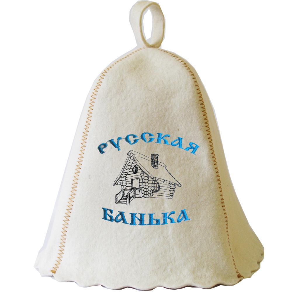 Шапка для сауны с вышивкой 'Русская банька ', Saunapro