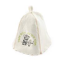 Шапка для сауны с вышивкой 'Телу жар душе пар!  ', Saunapro