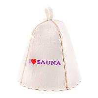 Шапка для сауны с вышивкой 'Я люблю сауну ', Saunapro