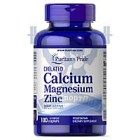 Puritan's Pride Chelated Calcium, Magnesium, Zinc кальций маний цинк комплекс минералов от головной боли
