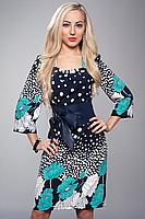 Платье с цветами и кожаным поясом, фото 2