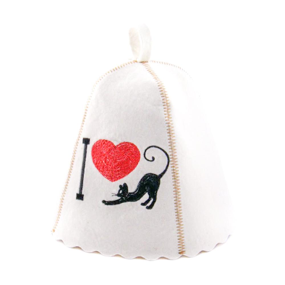 """Шапка для сауны с вышивкой ''I love cat"""", Saunapro"""