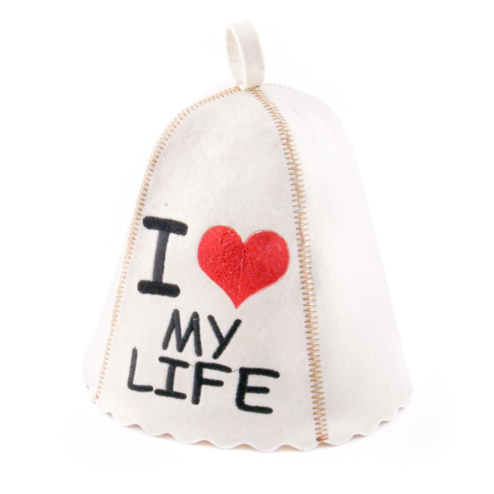 """Шапка для сауны с вышивкой ''I love my life"""", Saunapro"""