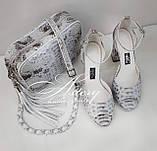 Женская светло-серая сумочка STELLA из питона на цепочке, фото 5