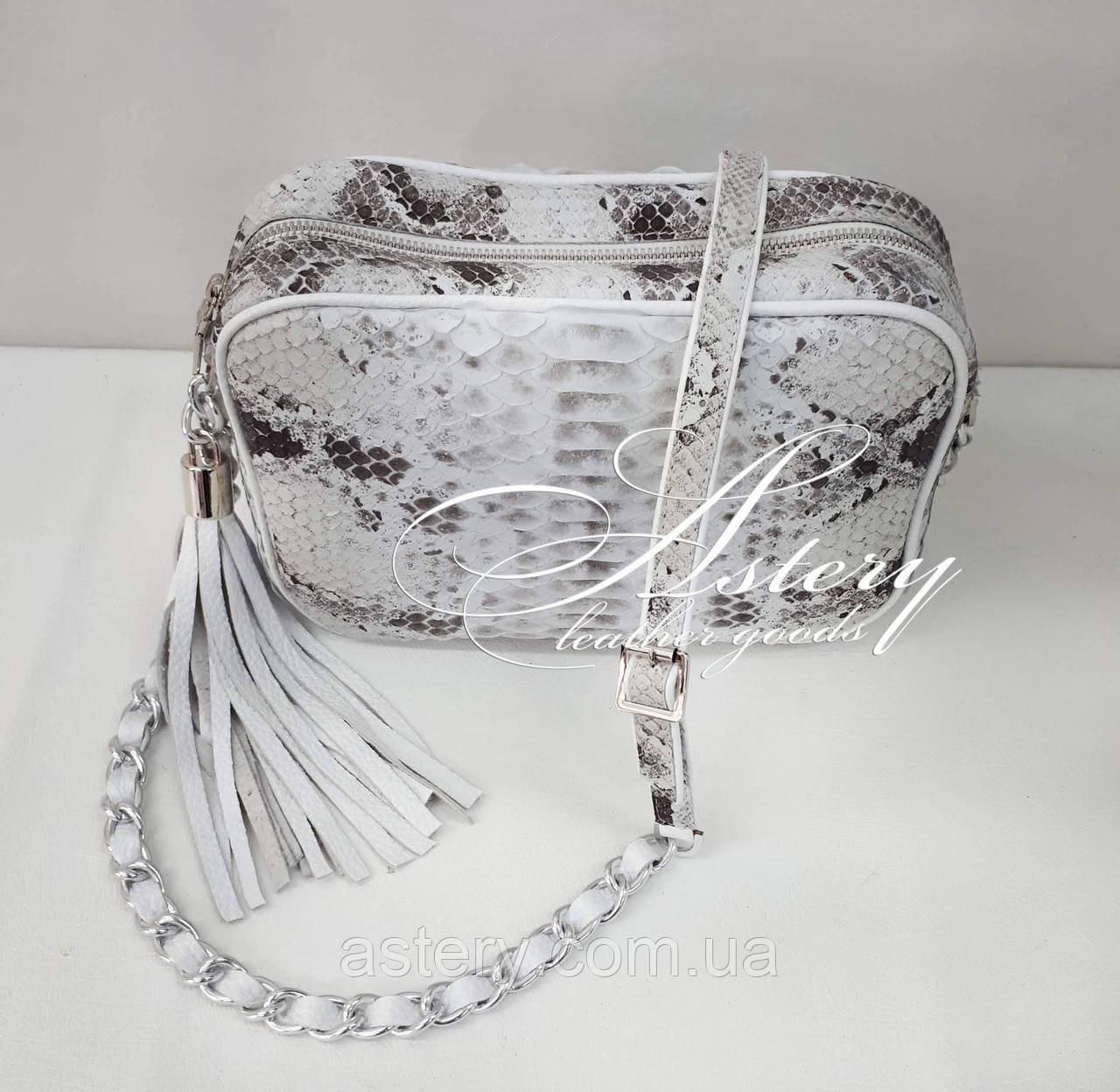 Женская светло-серая сумочка STELLA из питона на цепочке