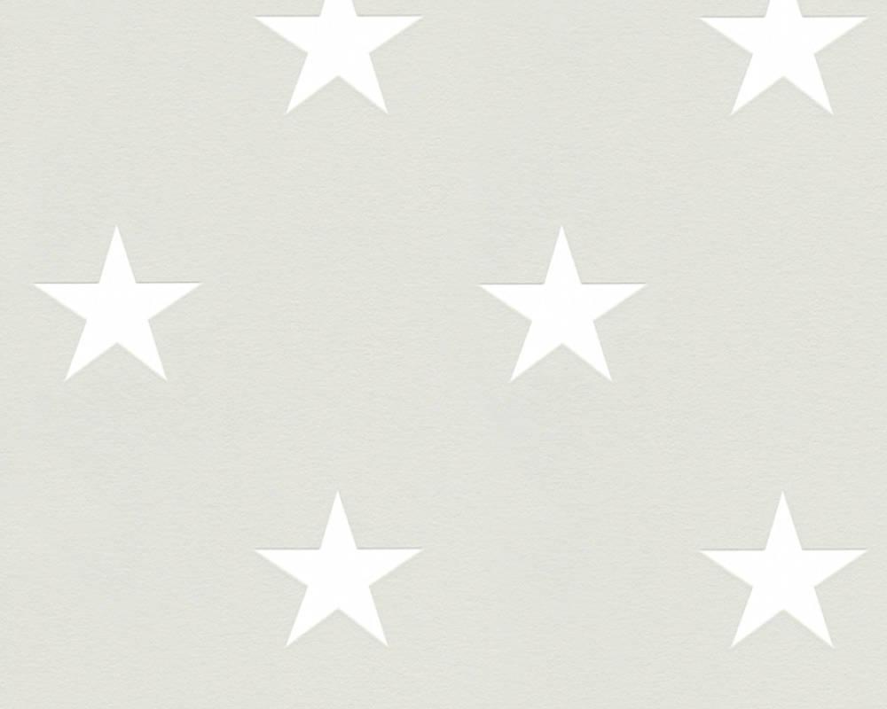 Виниловые обои со звездами теплого пастельного серого оттенка 352214